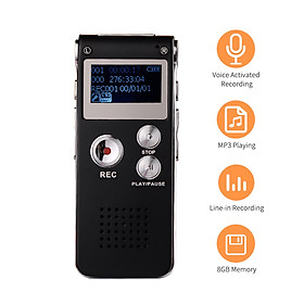 Mini Digital Voice Recorder 8GB Voice Activated Recorder Audio Sound Dictaphone MP3 Player Support Telephone Recording