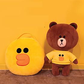 Gấu bông Brown Line Friends 35cm mặc áo vịt hàng Hàn cao cấp