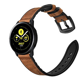 Dây da Hybrid Nâu chốt thông minh cho Galaxy Watch Active 2, Galaxy Watch Active, Galaxy Watch 42 Size 20mm