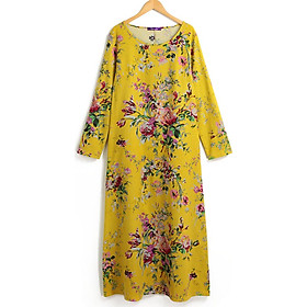 Váy Maxi Nữ Vải Cotton Lanh Tay Dài Cổ Tròn Dáng Rộng Cỡ Lớn