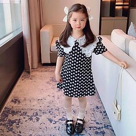 Đầm Cho Bé Gái Váy suông HQ thêu nổi hoa cúc cổ ren công chúa dễ thương