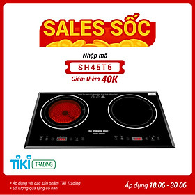 Bếp Đôi Điện Từ Hồng Ngoại Sunhouse SHB8609 (3600W) - Hàng chính hãng