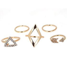 5Pcs/Set Girls Fashion Ring Arrow Diamond Triangle Geometric Finger Stacking