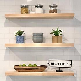 set 3 thanh Kệ gỗ thông treo tường Giá gắn tường decor trang trí nhà cửa bền đẹp sâu 15 cm