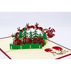 Thiệp 3d Thanh Toàn - Giáng sinh ông già Noel Santa Claus is coming !!! - NON35