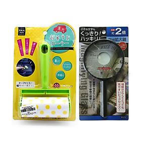 Combo Cây lăn bụi kèm lõi có tay cầm + Kính lúp mẫu mới - Nội Địa Nhật Bản (Giao màu ngẫu nhiên)
