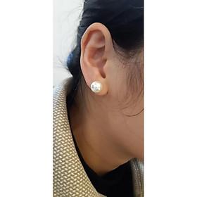 bông tai nữ , đính hạt ngọc trai nhân tạo , to tròn đều phong cách Hàn Quốc