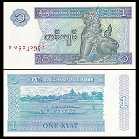 Tờ con Lân 1 kyat của Myanmar, quốc gia thuộc Đông Nam Á