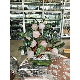 Cây đào phong thủy đá thạch anh hồng gồm 9 quả - Cao 30 cm