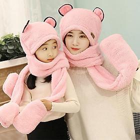 Mũ len kèm khăn choàng cổ và găng tay cho mẹ và bé , mũ len tai gấu siêu ấm dễ thương, chất liệu len lông cừu mềm mại nhiều màu lựa chọn ( 1 mũ)