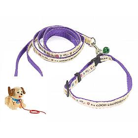 Dây dắt chó mèo 2 lớp dành cho chó mèo dưới 5kg + kèm vòng cổ nhỏ xinh (hanpet 343) xích chó màu ngẫu nhiên