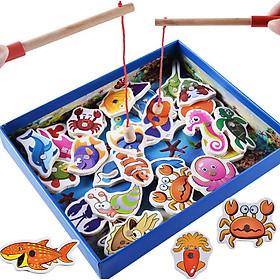 Đồ chơi câu cá nam châm gỗ 32 con chi tiết cho bé