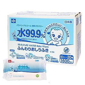 Thùng 20 gói giấy ướt Lec E-161 80 tờ 99.9% nước tinh khiết