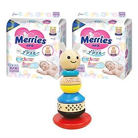 Combo 2 gói tã dán Merries size NB90/S82/M64/L54/XL44 tặng lật đật gỗ hình thỏ Merries và đồ chơi Toys House