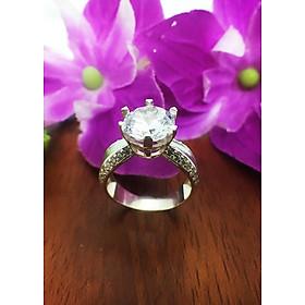 Hình đại diện sản phẩm Nhẫn nữ ổ cao gắn đá kim cương nhân tạo Trang Sức Bạc QTJ - nu242