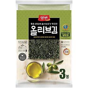 Rong Biển Ăn Liền Cao Cấp Yangban Dầu Olive Bịch 3 Gói 60g