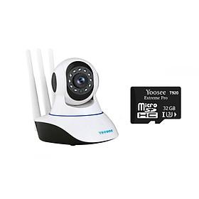 Camera IP Wifi Yoosee 3 Râu HD720P 10 đèn hồng ngoại đàm thoại 2 chiều + Tặng thẻ nhớ Yoosee T920 32GB (Trắng) Hàng Nhập Khẩu