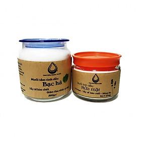 Hình đại diện sản phẩm Combo 2 muối tinh dầu muối tắm tinh dầu bạc hà và muối rửa mặt oải hương Ngọc Tuyết 750gr
