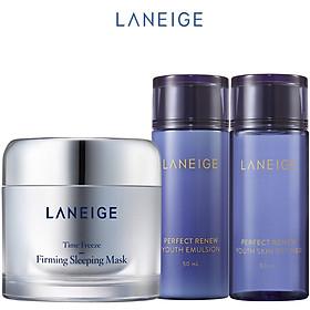 Bộ Mặt Nạ Ngủ Ngăn Ngừa Lão Hóa Laneige Time Freeze Firming Sleeping Mask (60ml) + Nước Cân Bằng (50ml) + Sữa Dưỡng Perfect Renew (50ml)