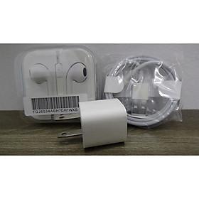 Combo bộ Sạc nhanh và tai nghe dành cho iPhone 6S Plus (củ vuông, cáp màu trắng, tai nghe có hộp)