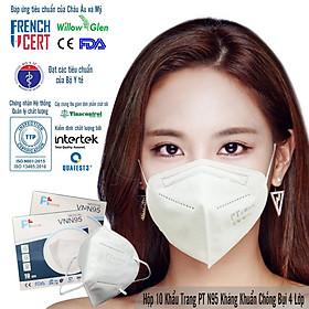 Hộp 10 Cái Khẩu Trang VNN95, 5 Lớp Có Bông, kháng Khuẩn, Chống Bụi Siêu Mịn PM2.5, Màu Trắng - Đạt Các Chứng Chỉ ISO 13485, ISO 9001, CE, FDA, TGA.