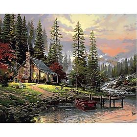 Tranh sơn dầu số hoá tự vẽ - Ngôi nhà rừng thông - có khung đã căn 40x50 cm