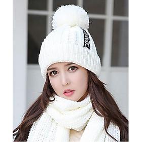 Bộ mũ len nữ quả bông kèm khăn thời trang Mũ nón len kèm khăn mẫu mới