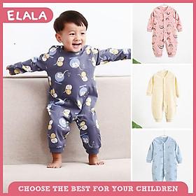 Bộ Đồ Ngủ ELALA Cho Trẻ Em, 1 Chiếc Quần Cotton Và Áo Liền Quần Dài Tay Mặc Ở Nhà