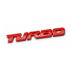 Tem chữ nổi TURBO 3D kim loại sang trọng ( màu đỏ)
