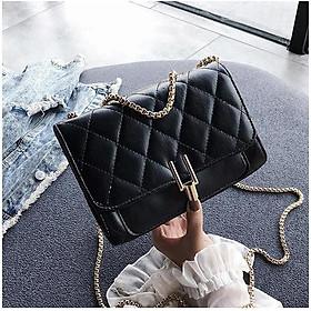 Túi đeo chéo nữ thời trang họa tiết hình thoi VBA479 khóa chữ Y vặn ngược 2020 màu đen
