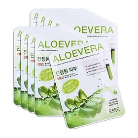 Combo 10 Miếng Đắp Mặt Nạ Nha Đam Dabo Aloe Vera First Solution Mask Pack Hàn Quốc (23g / Gói)