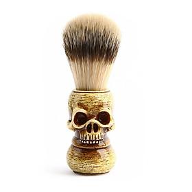 Men Shaving Brush Resin Skull Head Skeleton Natural Resin Handle Makeup Brush Barber Tools For Men light brown