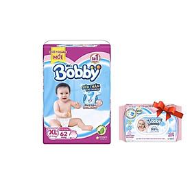 Tã Dán Bobby Siêu Mỏng Thấm Gói Siêu Lớn XL62 ( Tặng khăn giấy ướt Bobby 100 tờ)