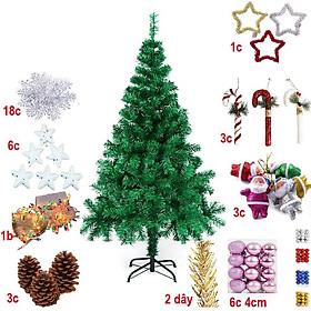 Cây thông Noel loại đẹp tán rộng, lá xanh dày, đế chân sắt chắc chắn công nghệ Hàn Quốc tặng kèm bộ phụ kiện trang trí