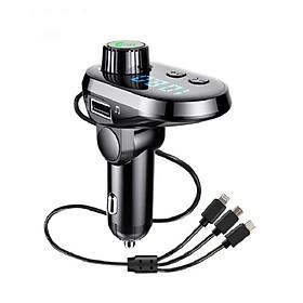 Tẩu nghe nhạc điện thoại rảnh tay kiêm cáp sạc 3 đầu tặng miếng dán chống nước kính ô tô