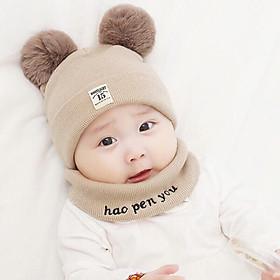 Mũ len 2 quả bông kèm khăn cho bé - màu ngẫu nhiên