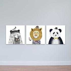 """Bộ 3 tranh treo tường hiện đại """"Gấu và sư tử"""" W2247 Canvas có viền"""