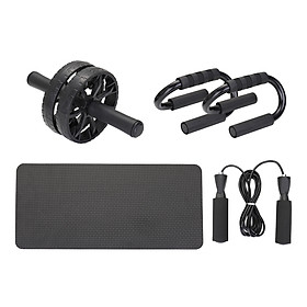 3-in-1 AB Wheel Roller Kit Spring Exerciser Abdominal Press Wheel Pro with Push-UP Bar Knee Pad Portable Equipment for