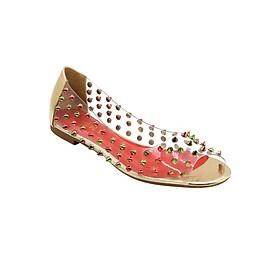 Giày Búp Bê Hở Mũi Quai Trong Gắn Đinh Tán Sulily B04-IV17VANG
