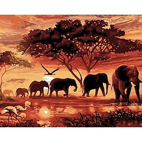 New DIY Sunset African Grassland Elephant Group Diamond Painting Cross Stitch Kits Part Diamonds Embroidery Home Decoration