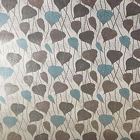 Decal dán kính họa tiết lá xanh dương Binbin DK02