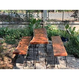 Bộ 1 bàn 2 ghế dài 1m49 -1m60 gỗ xà cừ nguyên tấm