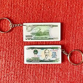 Móc khóa điện thoại bằng mica hình tờ 50k xanh lá xưa 1994