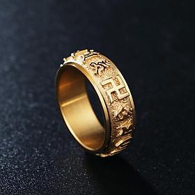 Nhẫn Xoay Khắc Chú Trừ Tà Om Mani Padme Hum Titan Không Rỉ TT 1784