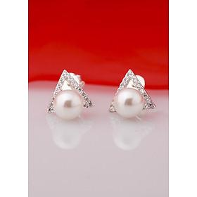 Bông tai bạc kiểu dáng tam giác đính ngọc trai thiết kế từ thương hiệu OPAL - E12