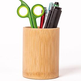 Ống cắm bút bằng gỗ tre tự nhiên thân thiện môi trường, văn phòng phẩm để bàn