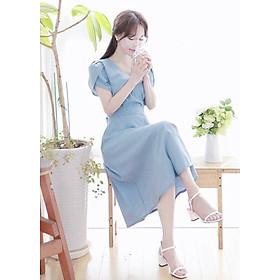 Đầm mila xanh form dài thắt eo