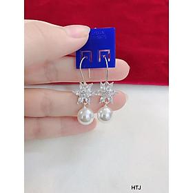 Bông tai móc hoa 6 cánh treo trai bạc cho nữ
