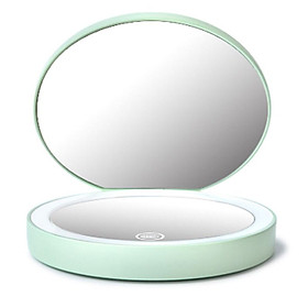 LED Makeup Mirror With Light Portable Double Sided USB Rechargeable Handheld Mirror