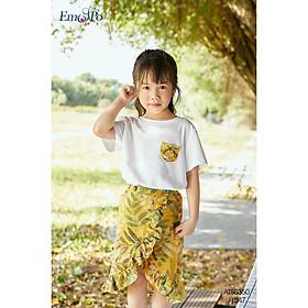 Áo thun cho bé gái Emspo , cổ tròn, có túi ngực ATS0350 (Vàng, Tím than)